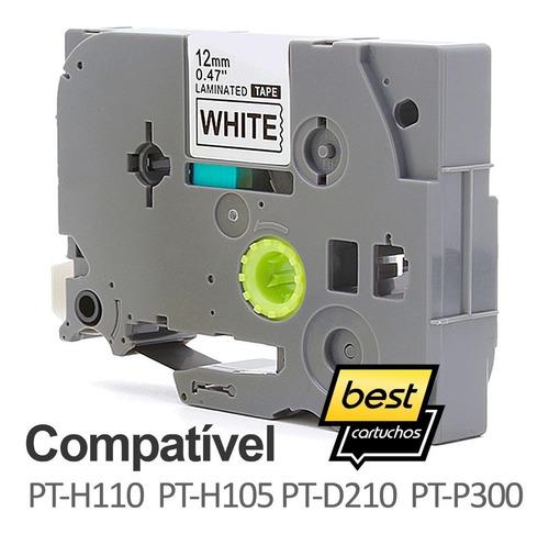 fita compatível tze 231 branca 12mm brother pt-h110 pt-h105