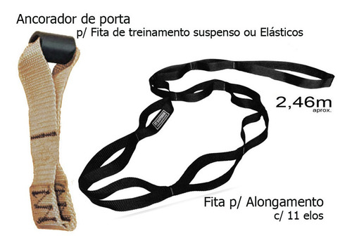 fita de alongamento + ancorador de porta p trx ou elásticos
