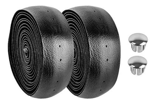 fita de guidão preta para speed com tampa preta