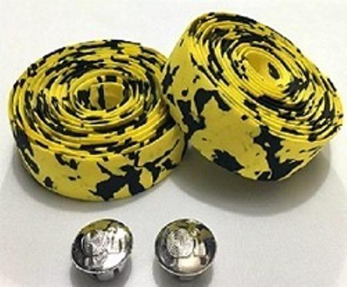 fita de guidão speed  mesclada preta / amarela eva