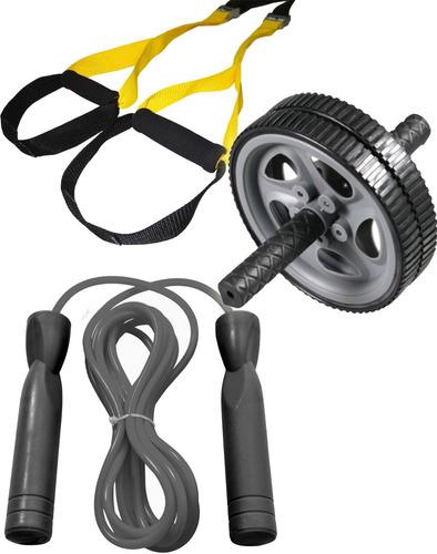 fita de treinamento tipo trx + roda + pula corda c rolamento