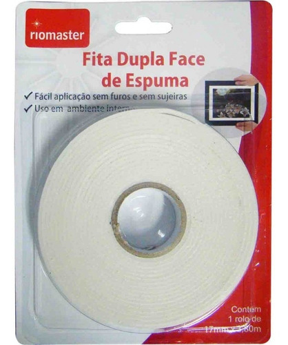 fita dupla face 17mm x 3,80mts espumada banana