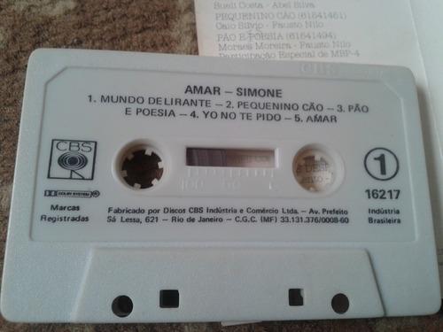 fita k7 simone - amar 1991 cbs mpb cigarra em ótimo estado