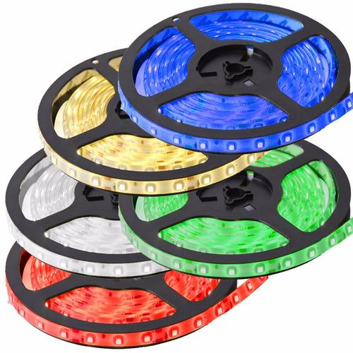 fita led 3528 rolo 5m 300 leds várias cores prova dágua - sf