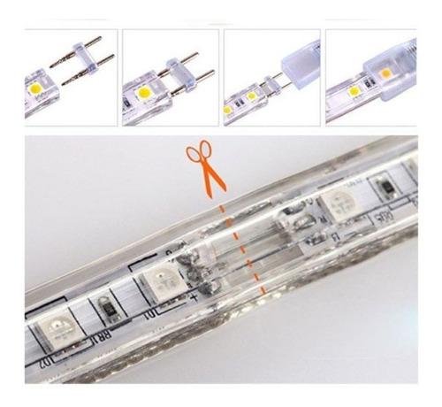 fita led 5050 mangueira 10m branco quente 220v + conector