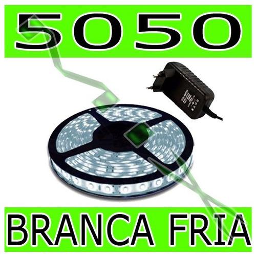 fita led 5050 rolo 5m 300 leds + fonte grátis - branco fria