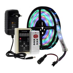 Fita Led Digital 6803 Rgb Com Controle Sem Fio Antena Iluminação Colorida 133 Efeitos Ip67 5050