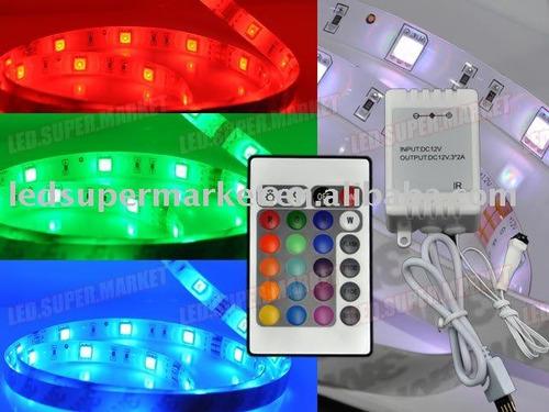 fita led rgb 1 metro + controlador + controle remoto + fonte