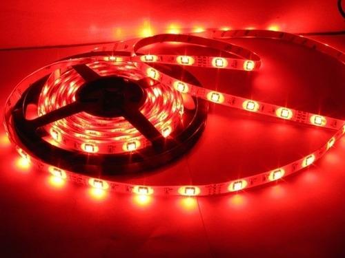 fita led vermelho rolo adesivo c/ 5 metros - fonte inclusa