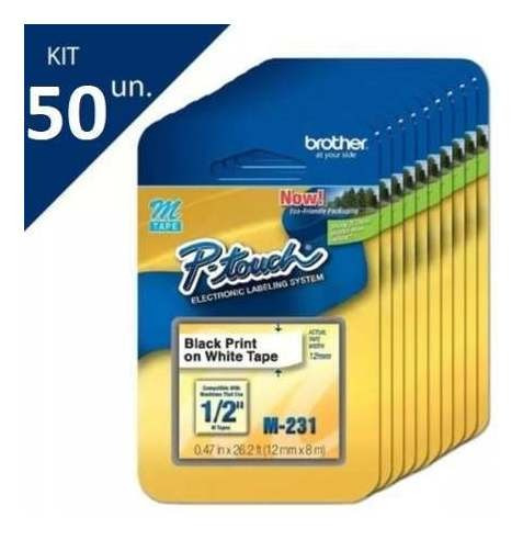 fita p/ rotulador m231 preto sobre branco  brother kit 50 un