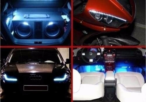 fita tira led branca adesivo tuning carro moto flexivel 30cm