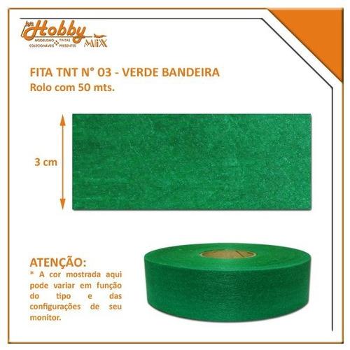 fita tnt nº 3 - verde bandeira - rolo com 50 mts