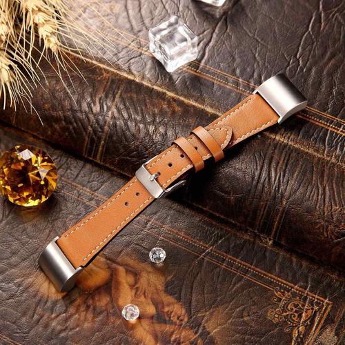 fitbit charge 2 clásica pulsera cuero conectores de metal