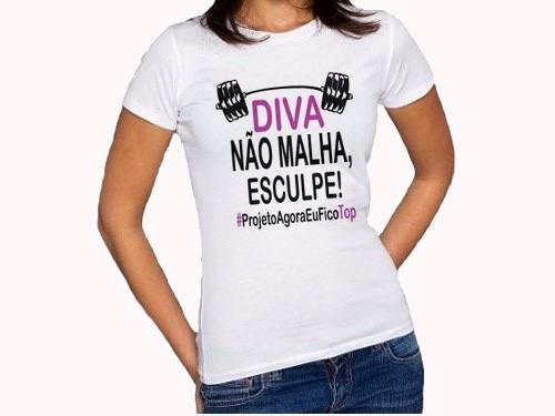c64063826fdaf Fitness Camiseta Personalizada Feminina Baby Look - R  29
