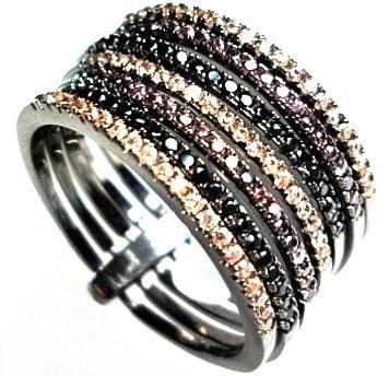 00b3afa909463 Fiv-anel 7 Elos Felicidade Zirconias Chocolate Rodio Negro - R  132 ...