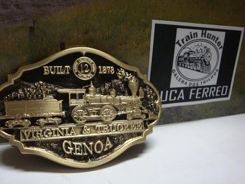 fivela bronze locomotiva genoa 12 ferrovia virginia truckee