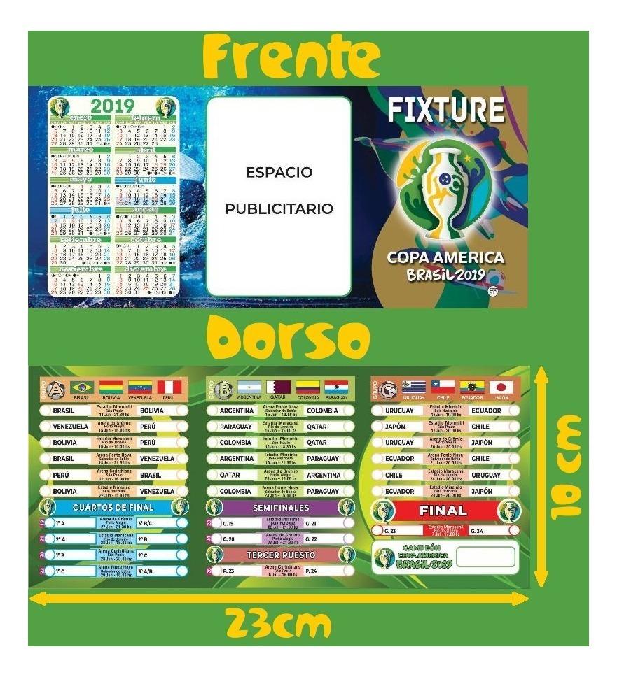 Calendario Copa.Fixture Copa America 2019 C Calendario Al Dorso X 1750 Unid