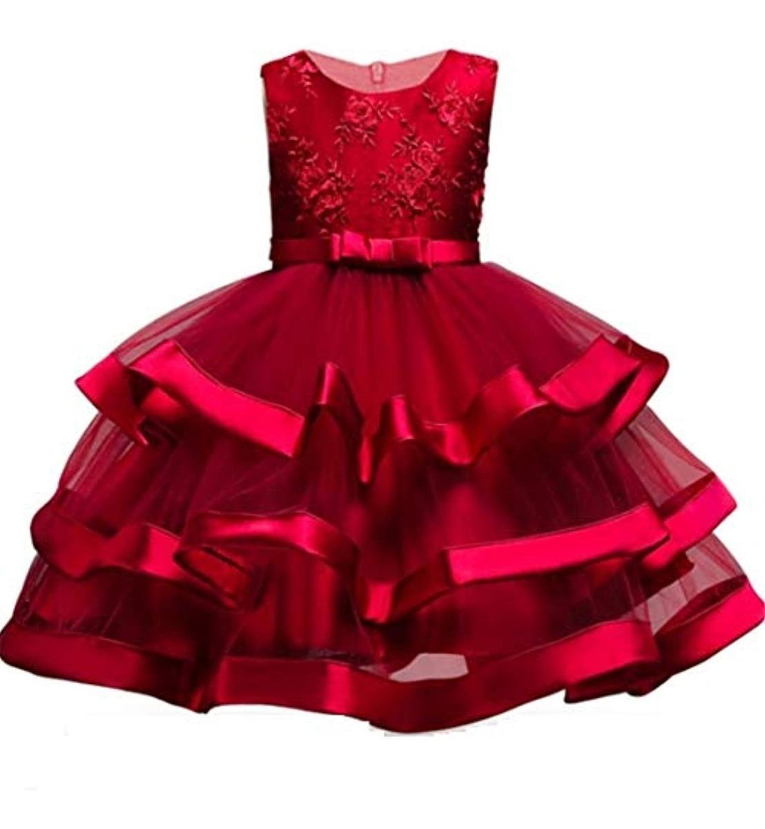 Fkkfyy Vestidos Rojos Para Niñas Fiesta