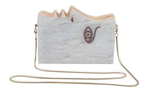 flada de la mujer cara acrilico madera noche bolso embrague