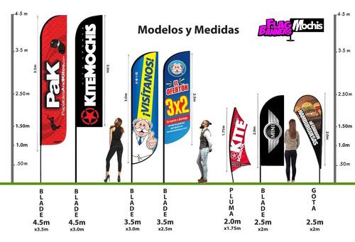 flag banner 3.5m c/ bandera 3m publicitario