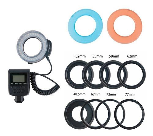 flash circular macro led ring hd-130 iluminador canon nikon