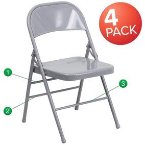 De Metal Gris Flash 4 Furniture Color Sillas Plegables 8XnP0wkO