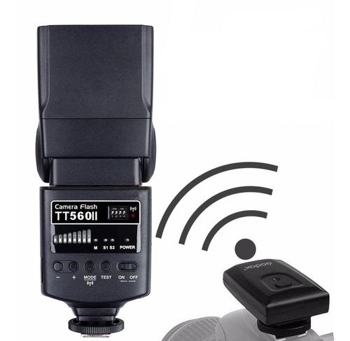 flash godox tt 560ii universal +carregador+ radio flash (nfe