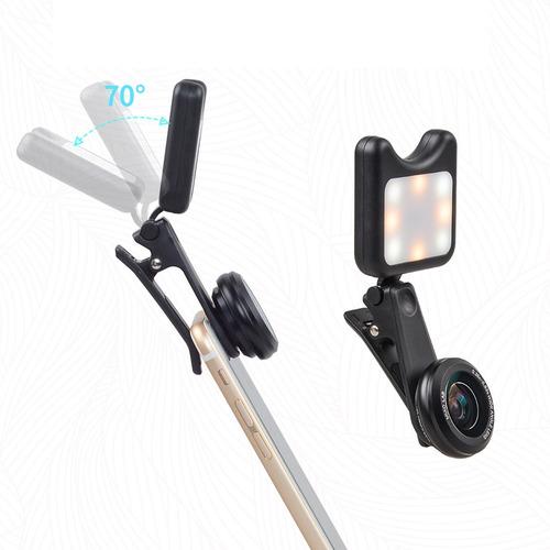flash led para celular selfie + 2 lentes macro gran angular