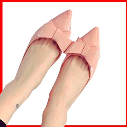 flat balerinas de gamuza y charol de punta para dama