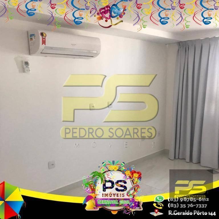 flat com 2 dormitórios para alugar, por r$ 1.400/mês - intermares - cabedelo/pb - fl0063