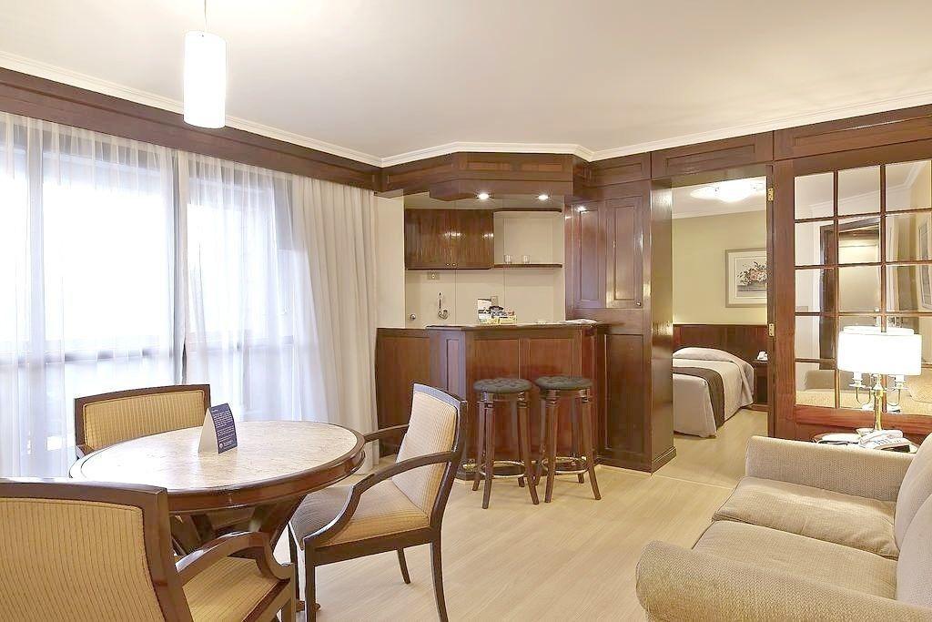 flat em higienopolis alto padrão varanda com cozinha completa - sf1101