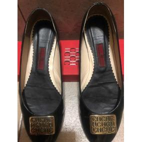 feeef1c592c Carolina Herrera Flats Original Ch Zapato Negro Sandalias Ch