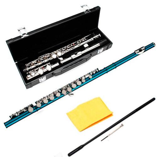 flauta transversal azul traversa estuche orificio cerrado