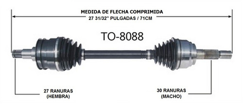flecha junta homocinetica toyota sequoia 4x4 2001 - 2007