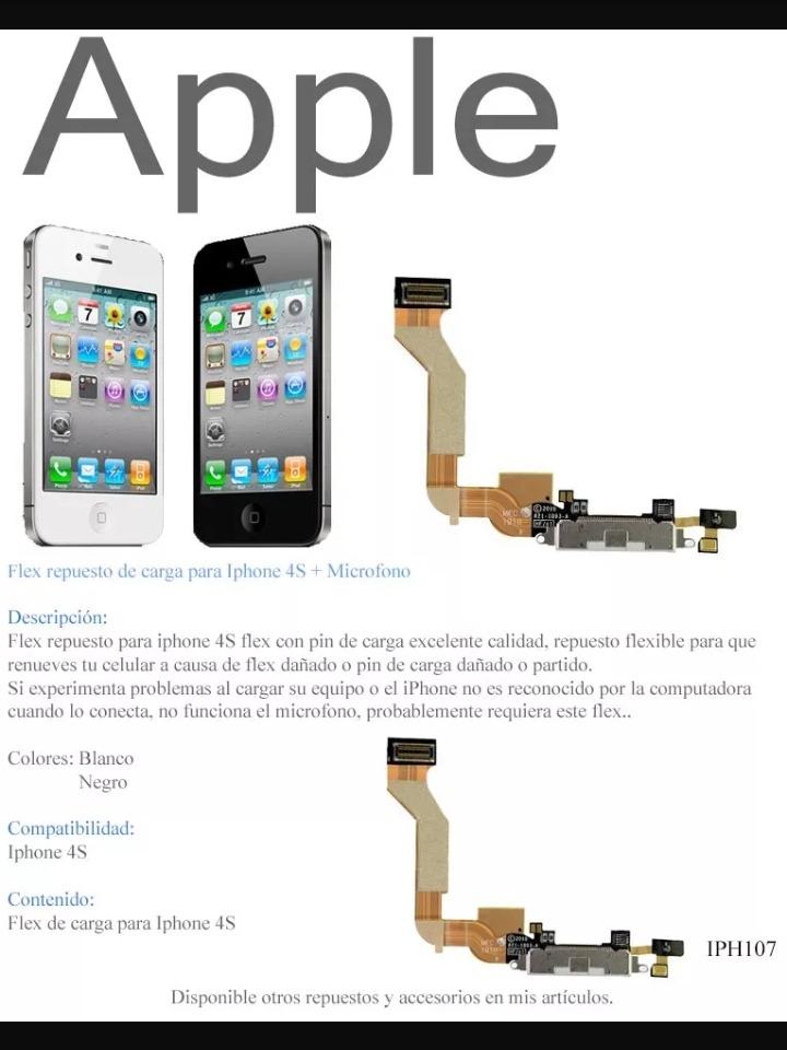 a2288b3526e Flex De Pin De Carga iPhone 4 / 4s Conector Apple.. - Bs. 600,00 en ...