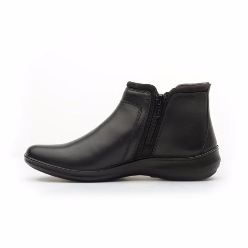 flexi botines piel piso casuales negro dama 25909