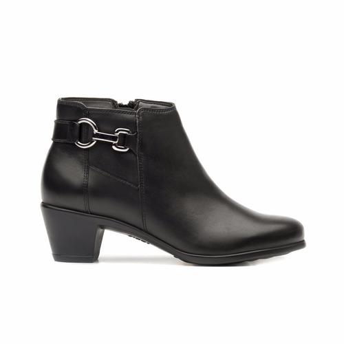 flexi botines piel tacon vestir negro dama 15417