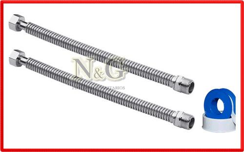 flexibles cobre cromados 3/4 x 30 paso total termotanque