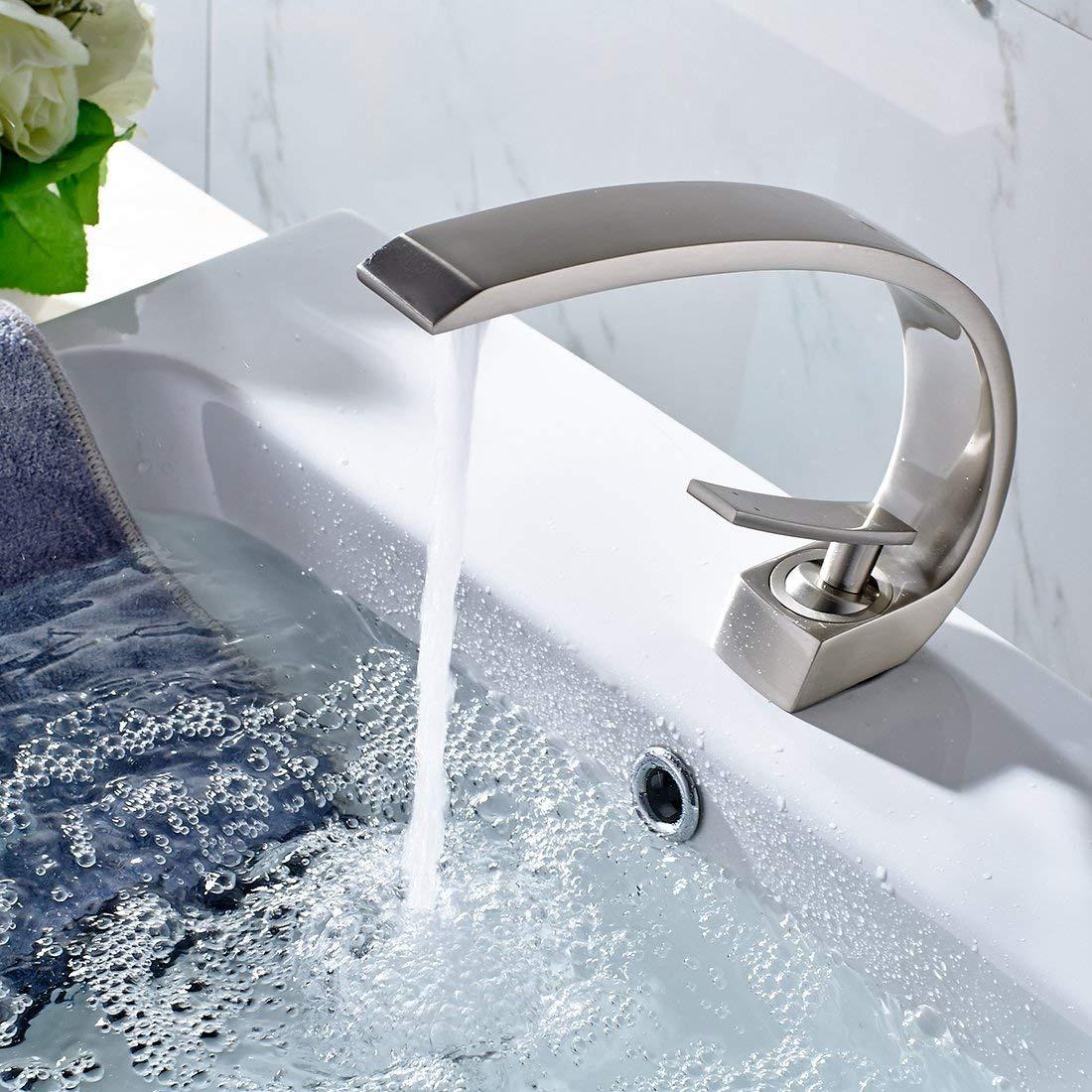 Flg Modern Solid Br Single Handle Bathroom Sink Faucet Cargando Zoom