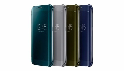 flip cover clear view para s6 s6 edge plus + note 5 chip