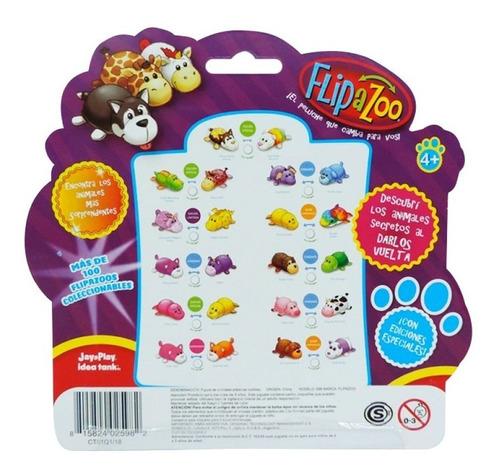 flipazoo mini pack x3 animales goma reversibles surtidos pc