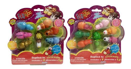 flipazoo mini pack x7 animales goma reversibles surtidos pc