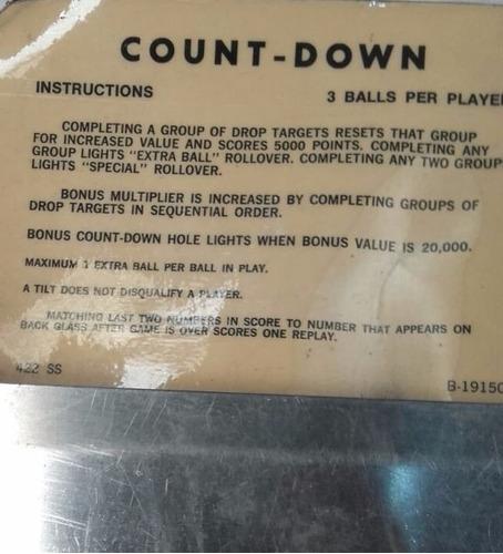 flipper pinball count down  1978