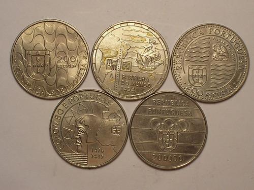 flor) 5 moedas portugal 200 esc. - 1991/1995 = comemorativas