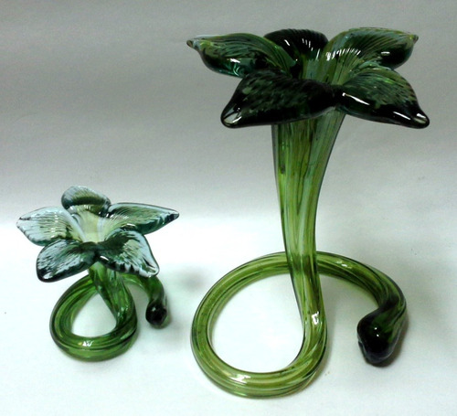 flor cristal murano grande verde azulada estilo art nouveau