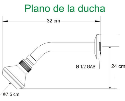 flor de ducha 3 funciones anticalcarea con brazo acero inox, roseta