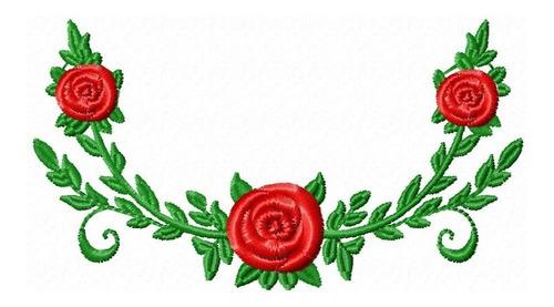 floral arranjo vermelho - coleção de matriz de bordado