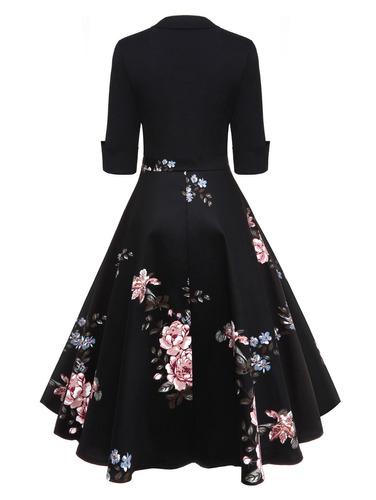 floral impresa vintage vestido de bengala para las mujeres