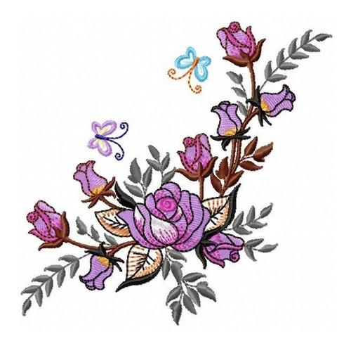 floral rosa lilás - coleção de matriz de bordado