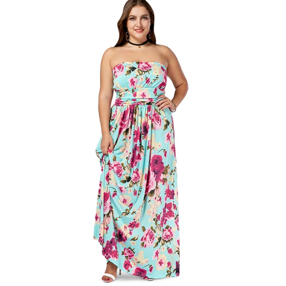aec34a4f8 Floral Strapless Vestido Largo Casual Para Las Mujeres -   564.39 en ...